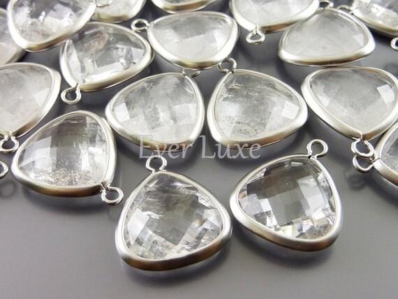 2 Large bezel set briolette stones, synthetic crystal quartz pendants / gemstones / stones 5124R-CR (matte silver, crystal quartz, 2 pieces)
