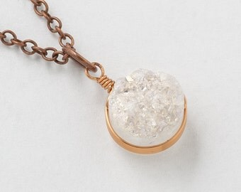 White Druzy Necklace Rainbow Quartz Druzy Agate Gemstone copper and Rose Gold pendant Necklace Statement jewelry Gift Steampunk Nation 2328