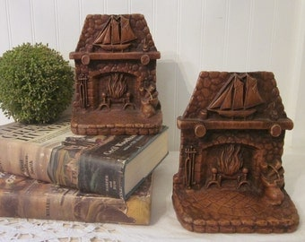 Vintage Hearth Bookends. Fireplace, Schooner, Nautical Beach House Cottage Hearth. Chestnut Brown Antiqued Finish. Syroco?