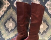 Vintage 80s Women's Cognac Brown Leather Tall Flat Riding Boots - 7.5