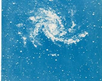 c. 1959 SPIRAL NEBULA LITHOGRAPH - original vintage print - celestial astronomy star print in blue