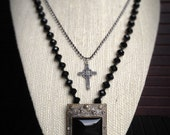 Vintage, Removable Black Onyx and Rhinestone Brooch on Crystal Necklace with Cross
