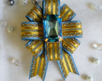 Lioncourt Military Ribbon Pin Blue and Gold