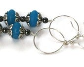 Blue Aqua Beaded Hoop Earrings, Gifts for Women Mom Wife Daughter Sister Grandma Under 20, Birthday Christmas Gifts, Mothers Day