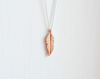 Feather necklace, simple feather pendant, 14K gold fill, sterling silver, rose gold feather, boho jewelry, long layering necklace, Tegan
