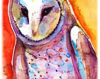 Barn Owl-- Artist Signed Watercolor Print