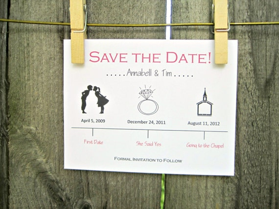 Timeline Save The Date Wedding Card By OneTenStationery On