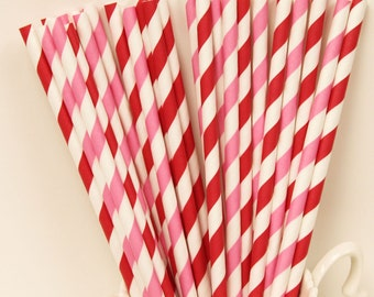 Paper Straws, 25 Red and Pink Striped Paper Straws, Valentines Day, Party Straws, Striped Paper Straws, Christmas, Wedding, Party Supplies