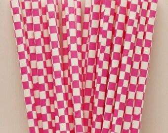 Paper Straws, Hot Pink Gingham Check Paper Straws, Party Paper Straws, Birthday Party Straws, Wedding Straws, Mason Jar Straws, Baby Shower