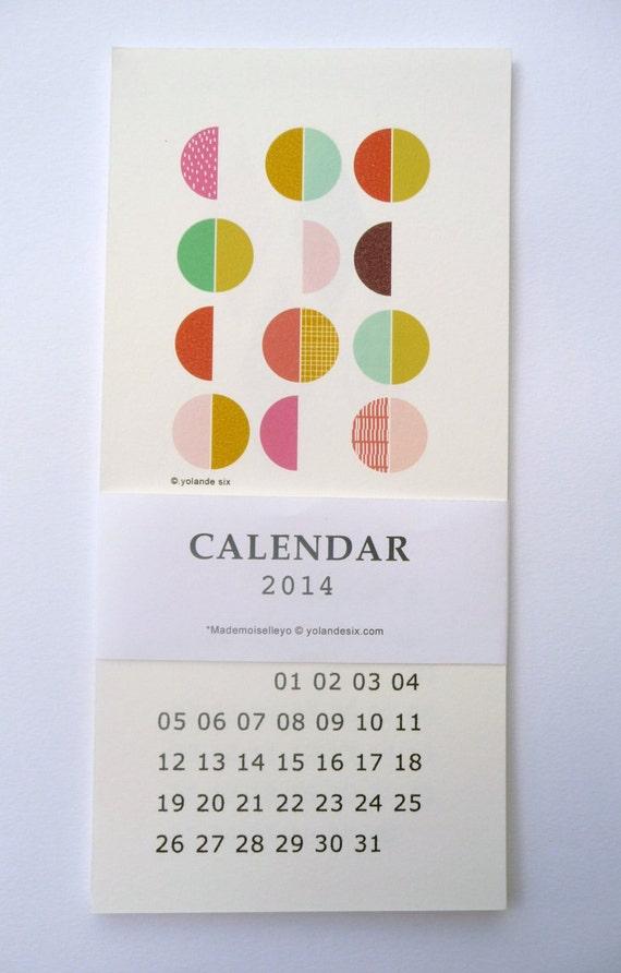 "SALE - 15%OFF 2014 Geometric Calendar - wall calendar  10x21cm - 4 x 8,27"""
