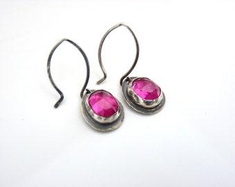 lab Ruby Earrings - blackened silver earrings - made to order handmade ruby earrings - gemstone earrings