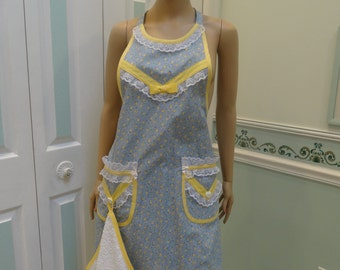 MODERN STYLE APRON : handmade, Full Apron, Blue floral print , with yellow bias tape trim, two pockets, white dishtowel