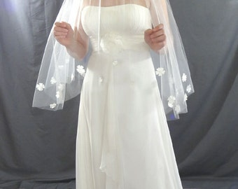 Wedding Veil, Drop Veil with Pearl Flower Detail, Waist Length Veil, Circular Bridal Veil
