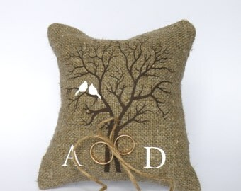 Wedding rustic natural linen Ring Bearer Pillow White Cardinals on the Tree and linen rope