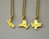 State Charm Necklace, Small Gold Brass State Necklace, State Jewelry, State Shaped Charms