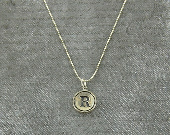 Letter R Necklace - Silver Initial Typewriter Key Charm Necklace - Gwen Delicious Jewelry Design