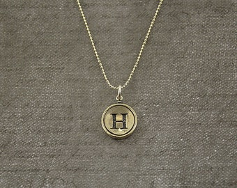Letter H Necklace - Silver Initial Typewriter Key Charm Necklace - Gwen Delicious Jewelry Design GDJ