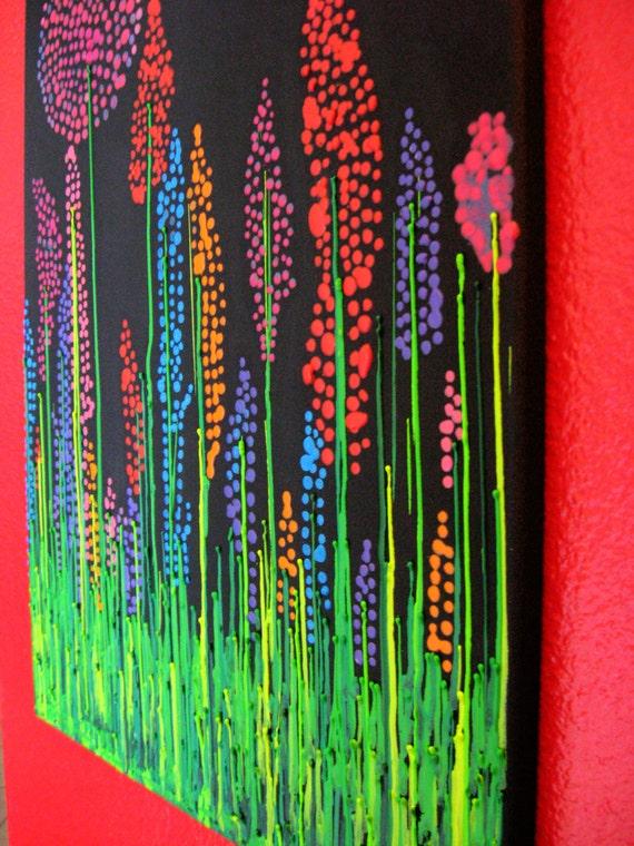 Handmade Wildflower Encaustic Wax Painting Melted Crayon Art