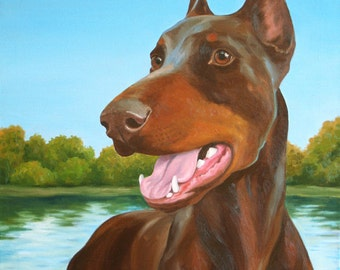 Red Doberman - 8x10 Giclee Print from Original Oil Painting