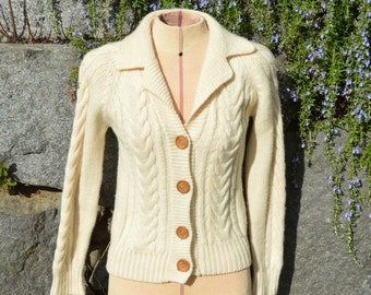 Vintage Ivory Wool Cable Fisherman's Cardigan Sweater by The Brass Plum at Nordstrom  PERFECT!