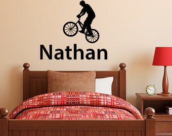 Bike Decal with Boys Name - Personalized Wall Decal - Custom Boy Wall Art