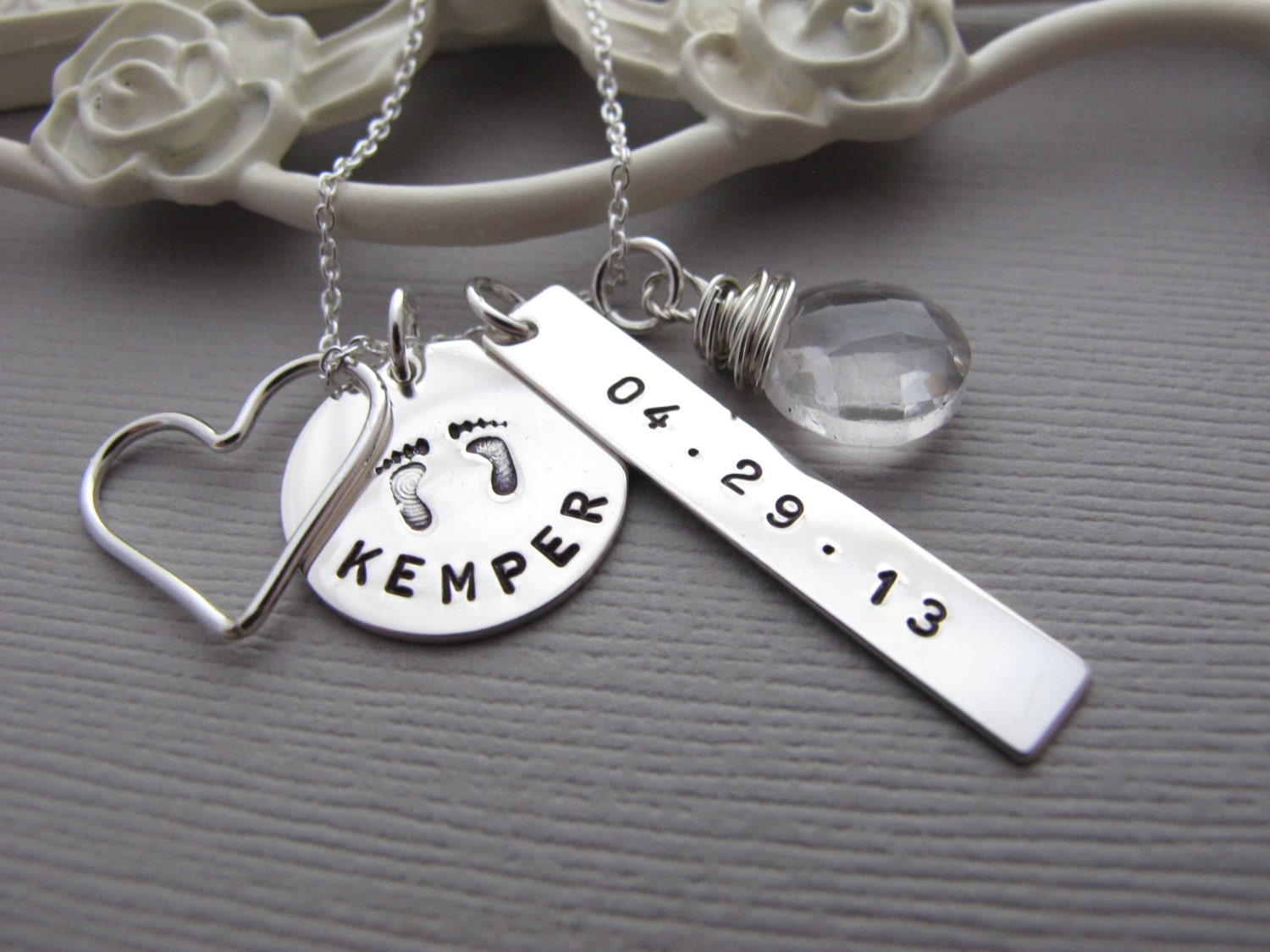 engraved new mom necklace baby name necklace by. Black Bedroom Furniture Sets. Home Design Ideas