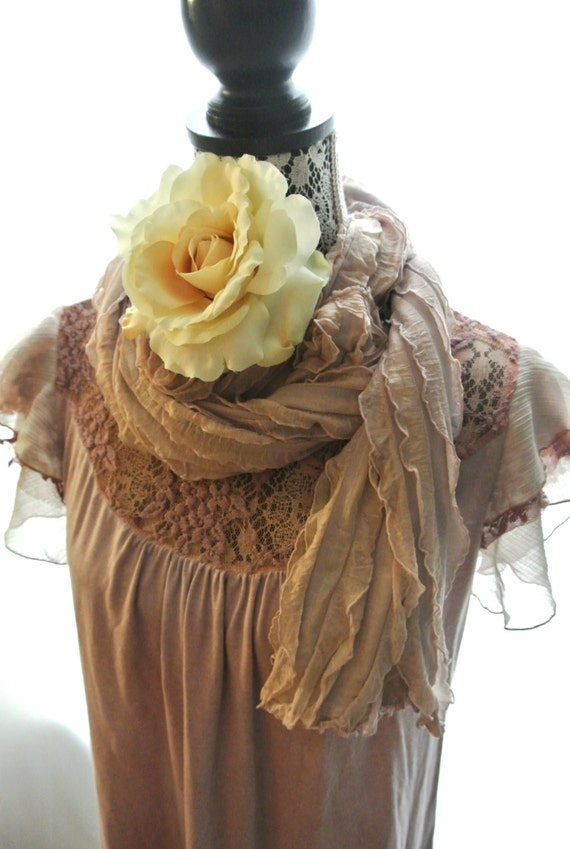 Fall scarf, cottage, boho wrap, shabby brown, romantic ruffle scarf, scarves, altered accessories, rustic country,  true rebel clothing