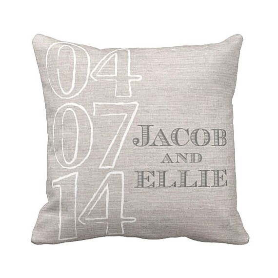 Personalized Pillows For Wedding Gift: Personalized Wedding Gift Pillow Cover Cotton By JolieMarche