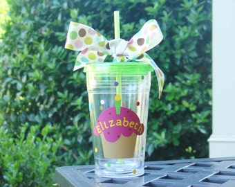 Personalized Birthday gift - Insulated clear tumbler with cupcake and polka dots