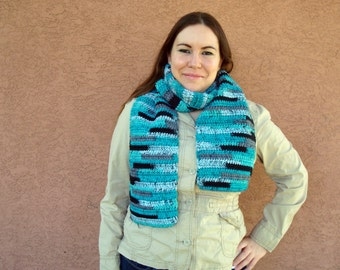 Agean Stripes Scarf in Blue, Grey, Black for Men or Women - Striped Scarf - Crochet Scarf - Hoooked Scarves - Ready To Ship