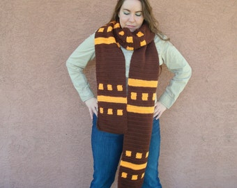 Orange and Chocolate Brown Scarf for Men or Women, Super Long Scarf, Huge Scarf, Giant Scarf, Autumn Scarf, Winter Scarf
