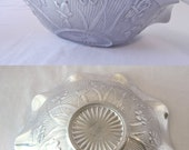 Rare Salesman Sample Metal Bowl Jeanette Iris and Herringbone Pattern, Silver Unknown Cast Metal