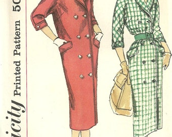 Simplicity 2383 / Vintage 50s Sewing Pattern / Dress Coat / Size 16 Bust 36
