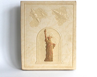 Vintage Book Of Writings Embossed Box Statue Of Liberty Bomber Airplanes