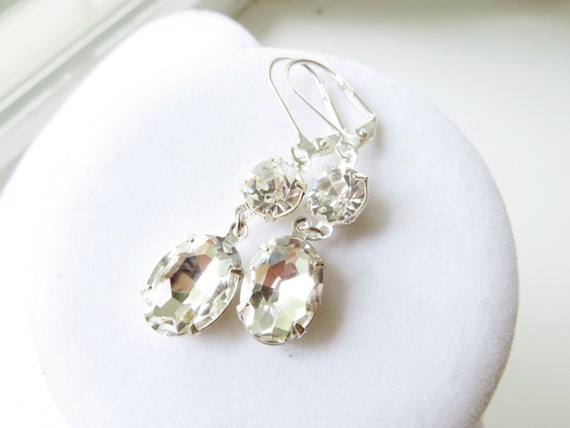 ON SALE Bridal Earrings - rhinestone, silver, hollywood glamour, vintage inspired, estate style