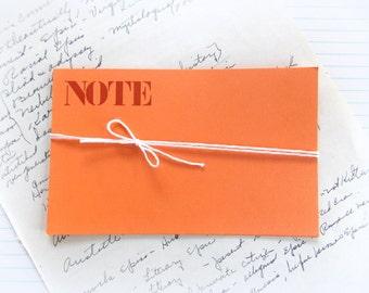 Bright Orange Vintage Journal NOTE Cards / 5 Pieces / Vintage Ephemera / Journal / Daily Planner