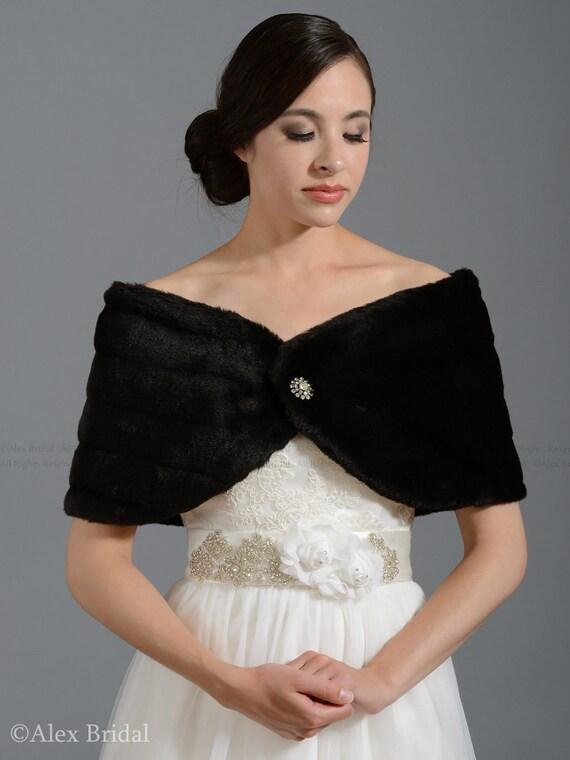 Black faux fur wrap bridal wrap faux fur shrug faux fur stole shawl FW001-Black regular / plus size