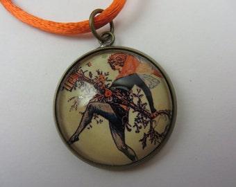 Fall Fairy Necklace Wings Key Black Orange Glass Pendant Boho Free Shipping
