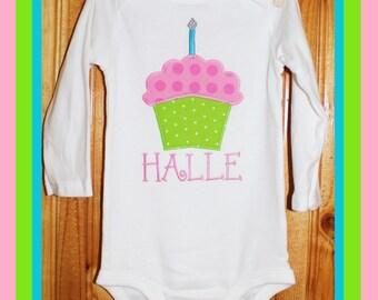 First birthday cupcake tee shirt or bodysuit