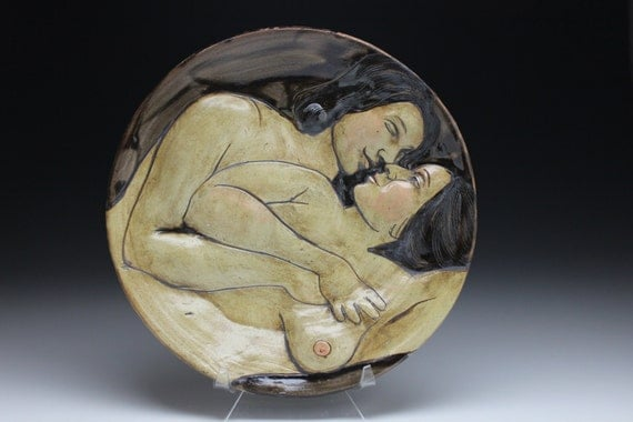 Wall Platter, The Lovers, Orginal Art Nude Relief Sculpture Ceramic Roundel, Kiss and Spoon