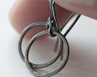 Tiny everyday hoop earrings - oxidised silver