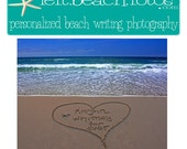Couple's Names in Heart  Personalized Beach Writing Photograph