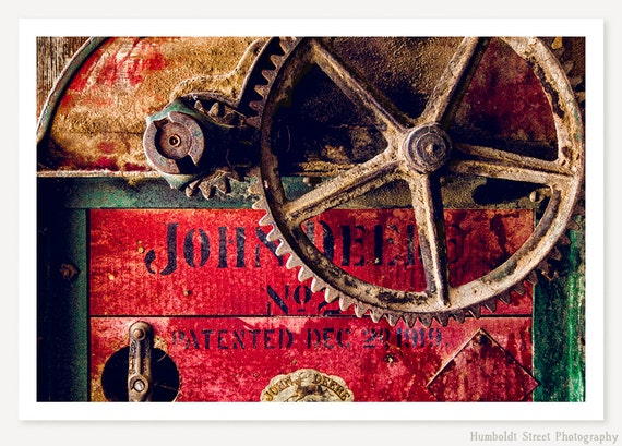 John Deere - Antique Farm Equipment Photograph - Rustic Farmhouse Decor - Vintage Country Farm Art - Industrial Photo - Still Life