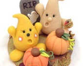 Halloween Ghost Figurine: Parker's Big Scare - Polymer Clay StoryBook Scene Sculpture with Pumpkins & Ghost - KatersAcres