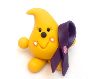 Cystic Fibrosis CF Ribbon PARKER Figurine - Polymer Clay Character Sculpture for Cystic Fibrosis