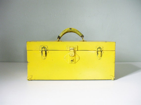 vintage yellow tool box with additional tray
