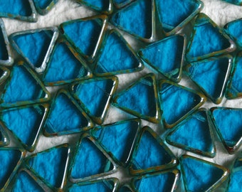 13mm Triangle Beads - Jewelry Making Supplies - Wholesale Czech Glass Beads - Azure Blue (5 strands 120 beads)