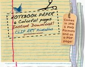 6 colored Illustrated Notebook Paper Graphic Clip Art INSTANT DOWNLOAD png pdf jpg