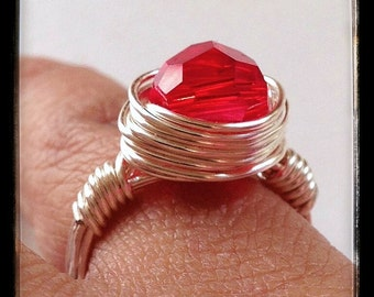Silver Wire Wrapped Ring with Red Swarovski Crystal, Handmade Wire Wrapped Ring, Wrapped Wire Ring, Silver Wire Ring, Red Crystal Ring