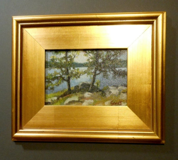 Cedar Lake Point - Original Oil Painting in Solid Wood Frame